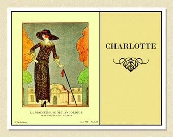 1920s French Fashion Plate - Personalized Note Cards (10 Folded)