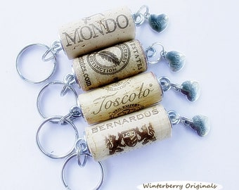 Wine Cork Keychain with Your Choice of Family Member Charm:  Mom, dad, Grandma, or Grandpa - Wine Lover Gift, Stocking Stuffer, Party Favor