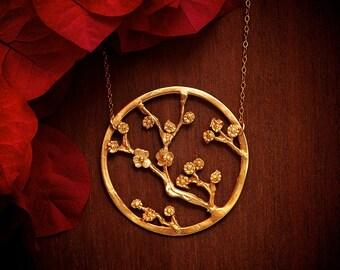 Large Cherry Blossom Necklace - Large striking statement gold conversation piece - Large Gold Necklace - Large Gold Pendant