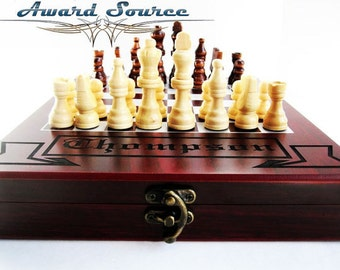 Birthday Gift, Personalized Chess Set -Traveling Chess Set Keepsake Gift Rosewood Box - FREE ENGRAVING - Choose your own font and text