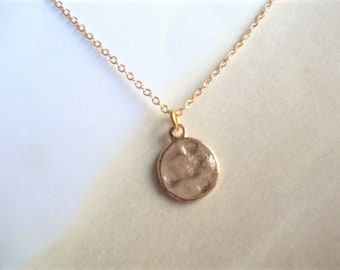 Rose Disc Necklace Rose Circle Pendant Gold Disc Necklace Tiny Gold  Circle Necklace Disc Jewelry