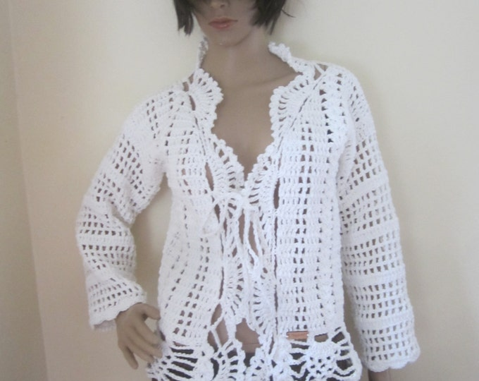 WHITE CROCHET  SWEATER, Crochet sweater, festival clothing, Boho sweater, Crochet Cardigan, crochet sweater,bolero, gypsy sweater, hippie