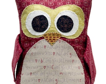 Maroon Hearts Stuffed Owl ~ Owl Nursery Decor ~ Owl Decor ~ Owl Plush Toy ~ Owl Plushie ~ Owl Stuffed Toy ~ Maroon Owl Toy ~6-inch (15.2cm)
