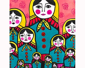 Russian Nesting Dolls Art Print Poster by Heather Galler Folk Art matryoshka stacking Dolls Folk art fusion