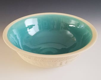 Handmade Large Ceramic Serving Bowl - Chatter Decoration - Glazed on the Inside Only - Turquoise
