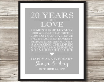 20 Year Anniversary Digital Print; Choose your own words and colours; 20th Anniversary present; Personalized; milestone, 20 Years Married