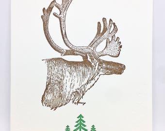 Box Set of 6 Reindeer Winter Holiday letterpress greeting card