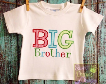 """Boys """"BIG BROTHER"""" shirt. Available in long or short sleeves."""