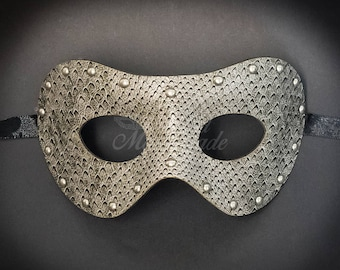 Men's Masquerade Ball Prom Costume Party PU Leather Eye Mask (Snake Gray)