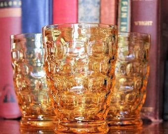 Vintage Amber Pressed Glass Tumblers, Juice Glasses, Honey Amber tumblers, amber juice glasses,