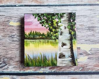 """Miniature Birch Tree Painting   Magnetic Canvas Original Art   Landscape Painting   Landscape Art   Garden Pond   Fridge Magnet   2.5x2.5"""""""