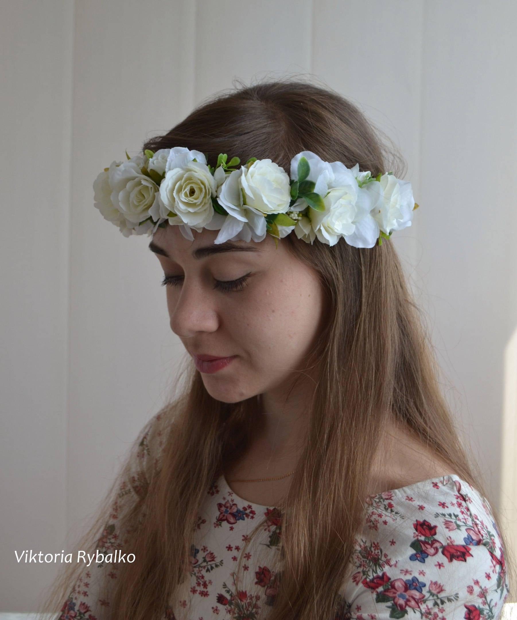 Wedding Flower Crown Bridal Flower Crown Girl Wreath White