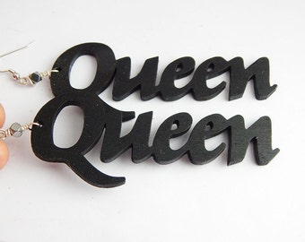 Queen Earrings Wood Hand painted Queens Jewelry Afrocentric African Black Wooden Jewellery Handmade Ethnic Earrings Woman