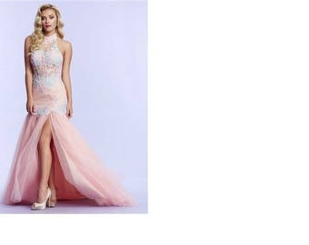 MacDuggal 10057 Lace Applique High Neck Halter Dress