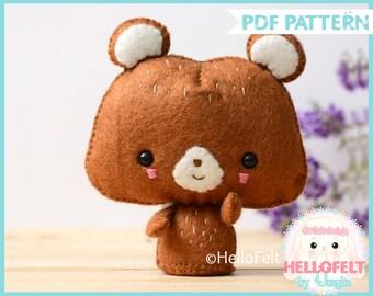 PDF Pattern, Woodland Series 2: Bear, Felt Woodland Animal Pattern, Felt plush. Sewing pattern, handmade.