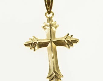 14k Ridged Fancy Brushed Finish Cross Christian Symbol Pendant Gold