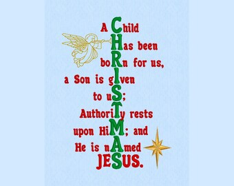 Isaiah 9:6 Christmas machine embroidery design file for 5x7 hoop