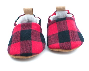 Baby Shoes Boy, Red Plaid Baby Booties, Baby Shower Gift Boy, Western Baby, Country Baby, Red Plaid Shoes, Toddler Slippers