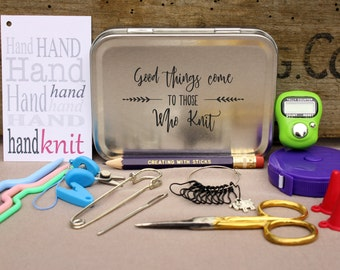 Knitter's Notions and Tool Box- Good Things Come to Those Who Knit, Project Bag Tool Tin, Knitting Notions, Knitting Tool Box