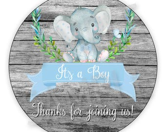 Cute Its a boy Baby Elephant Baby Shower Gift Tags - Printable DIY File