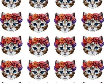 Small Cat Face and Roses - Ceramic Waterslide Decal - Enamel Decal - Fusible Decal - 98390S