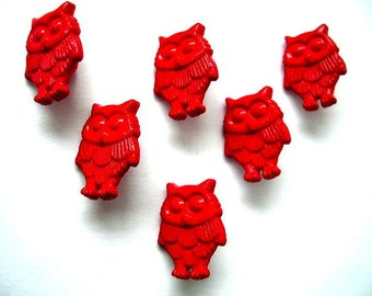 LOT 6 buttons: 16mm red OWL