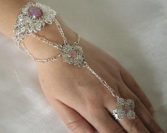 Pink Opal Slave Bracelet, boho jewelry bohemian jewelry gypsy jewelry hippie hipster new age boho bracelet bohemian bracelet hand chain