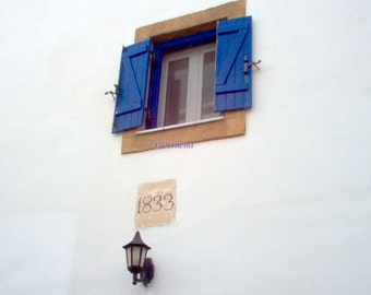 Blue summer, travel photo print, Greek islands - Kythira, blue shutters, lantern, old house dated 1833