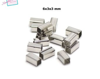100 6 x 3 x 3 mm silver plated rectangular tube beads