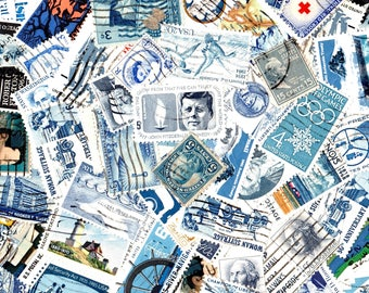 40 Blue Vintage Postage Stamps-Used