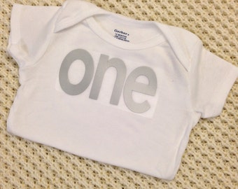 """Silver Iron-On vinyl """"one"""" lettering for yearly, monthly or birthday onesie- Lettering ONLY (First Class Shipping Rate)"""