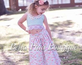 Girls Boho Crop Top and Maxi Skirt