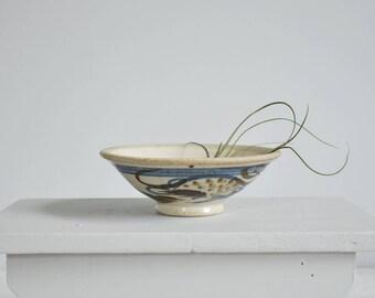 painterly pottery bowl / vintage small glazed stoneware bowl