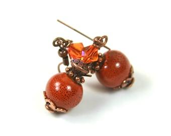 Orange earrings Boho earrings Ceramic earrings, Boho chic earrings, Gift for her, Copper Jewelry