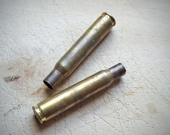 Vintage Bullet Cases, Original Brass Bullets Pair, Assemblage Craft Jewelry Supplies