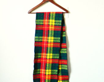 Bright Vintage Wool Plaid Scarf / Bold Retro 1960s Scarf / Plaid Lumberjack Scarf