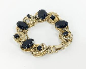 50s Black Glass Juliana Link Bracelet |