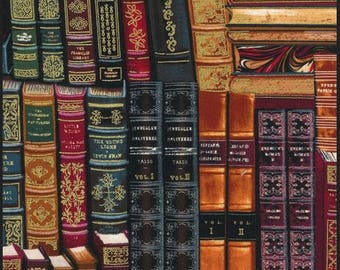 Timeless Treasures - Library - Stacked Books w/ Metallic Gold - Multi Fabric by the Yard CM8214-MLT