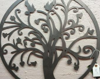 Tree with hearts and birds wall art