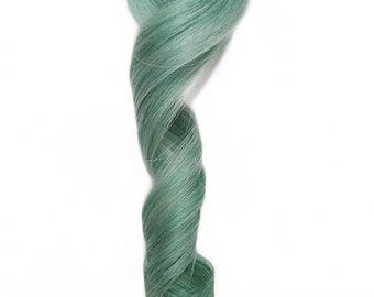 "Wide Clip in Human Hair Extensions Pastel Light Mint Green Bright Teal 3"" Wide Pieces"