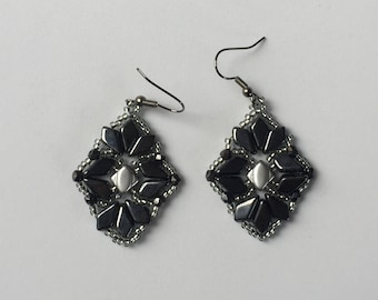 beaded earrings beaded dangly earrings gun metal grey silver beaded earrings monochrome colours unusual shape earrings beautiful jewellery
