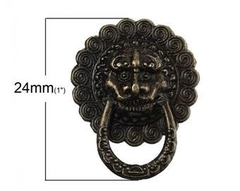 1 handle pattern bronze door knocker Lion head metal 24 x 30 mm