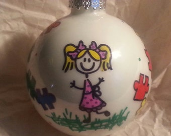 Celebrate Autism Christmas Ornament - Girl or Boy - personalized