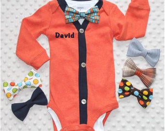 Personalized Baby Boy Cardigan and Bow Tie Set, Baby Suit, Baby Tuxedo, Baby Bow Tie Outfit, Baby Boy Clothes, Baby Boy Outfit