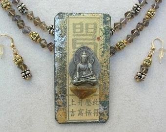 Buddha Amber Pendant/Pin, Topaz, Gold & Silver Beads, Detachable Pin, Versatile Necklace Set by SandraDesigns