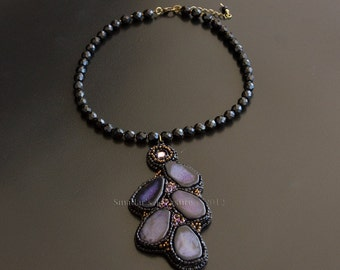 Beaded Black Necklace, Bead Embroidered Asymmetrical Pendant with Swarovski Crystals and Purple Agate Gemstones and Bronze Beads S163