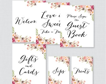 Rustic Floral Bridal Shower Table Signs - Printable Pink Flower Bridal Shower Decorations - Welcome Sign, Favor Sign, Gifts & Cards,etc 0024