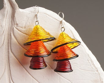 Red yellow & orange bells lampwork earrings, transparent earrings, yellow orange red black earrings, glass bell earrings, bright earrings