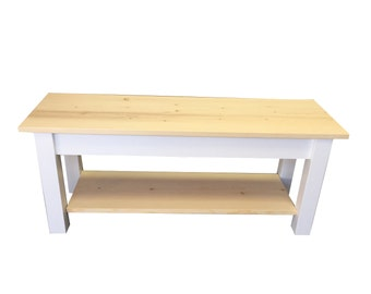 Nantucket Bench with Shelf /Shoe Rack Bench / Foyer Bench / Mudroom Bench