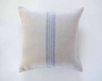 Grain sack pillow - linen pillow cover with blue striping - cushion case - decorative pillow - french farmhouse decor accent - 0385